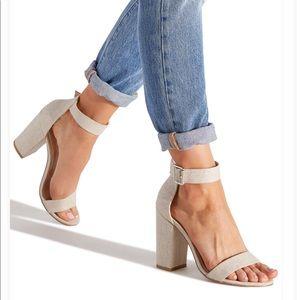 Shoes - Linen Block Heel